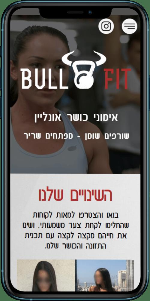 הדמייה של האתר bullfit.co.il